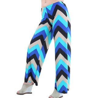 24/7 Comfort Apparel Women's Multicolored Chevron Print Palazzo Pants