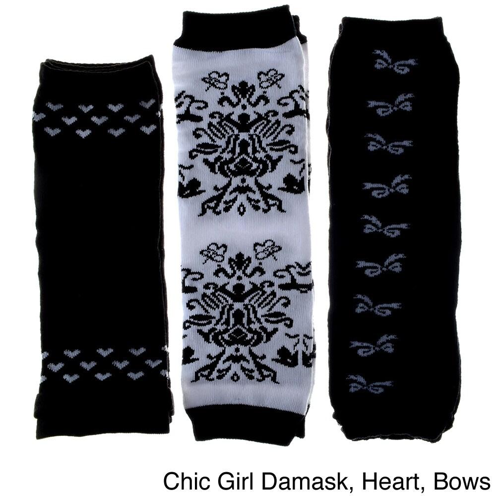 Crummy Bunny Baby Girls' Leg Warmers (Set of 3) (Black Bo...