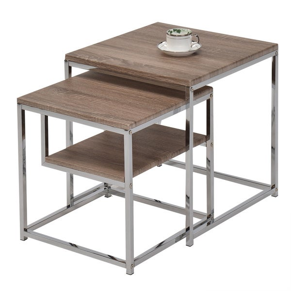 Shop Reclaimed Wood Side End Nesting Tables With Shelf