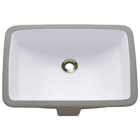 Polaris Sinks P3191UW White Rectangular Undermount Porcelain Bathroom Sink
