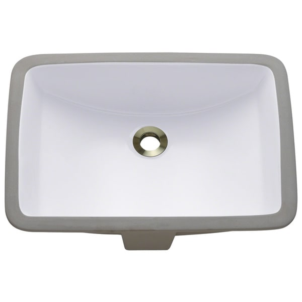 ... Sinks P3191UW White Rectangular Undermount Porcelain Bathroom Sink