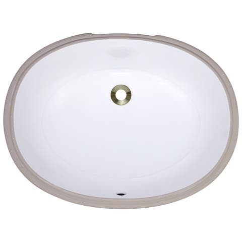 Polaris Sinks PUPLW White Undermount Porcelain Bathroom Sink