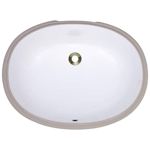 Polaris Sinks PUPLW White Undermount Porcelain Bathroom Sink