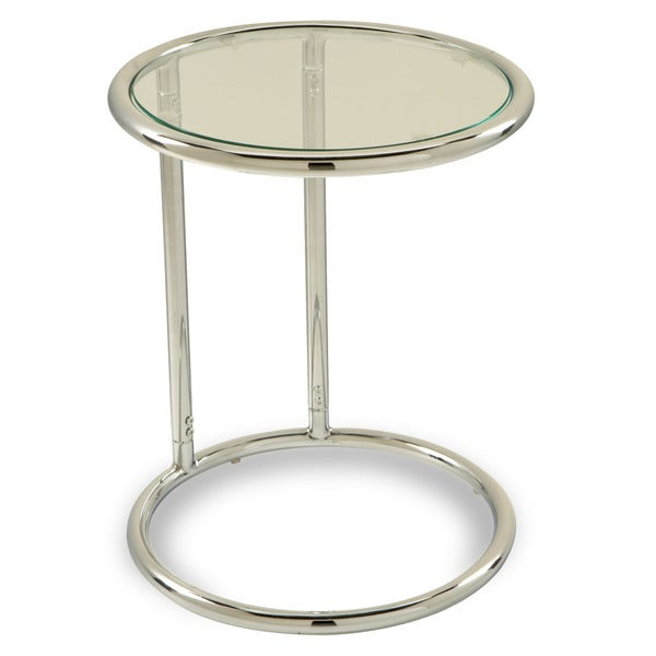 Round Table w/ Glass Top by Ave Six - Silver
