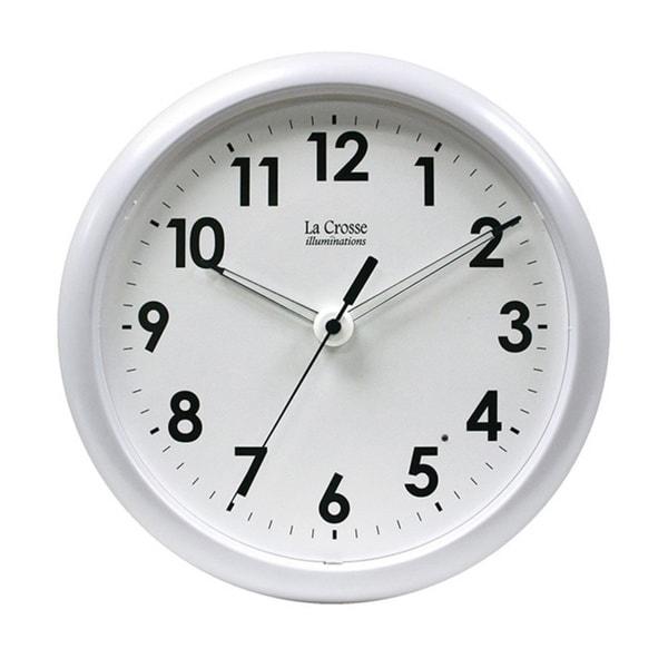 Illuminated 10-inch White Clock
