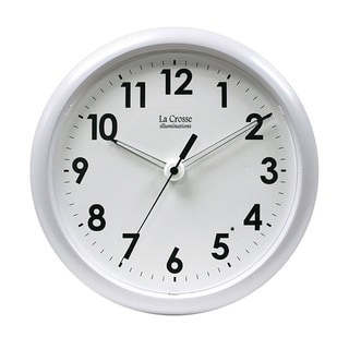 Illuminated 10-inch White Clock