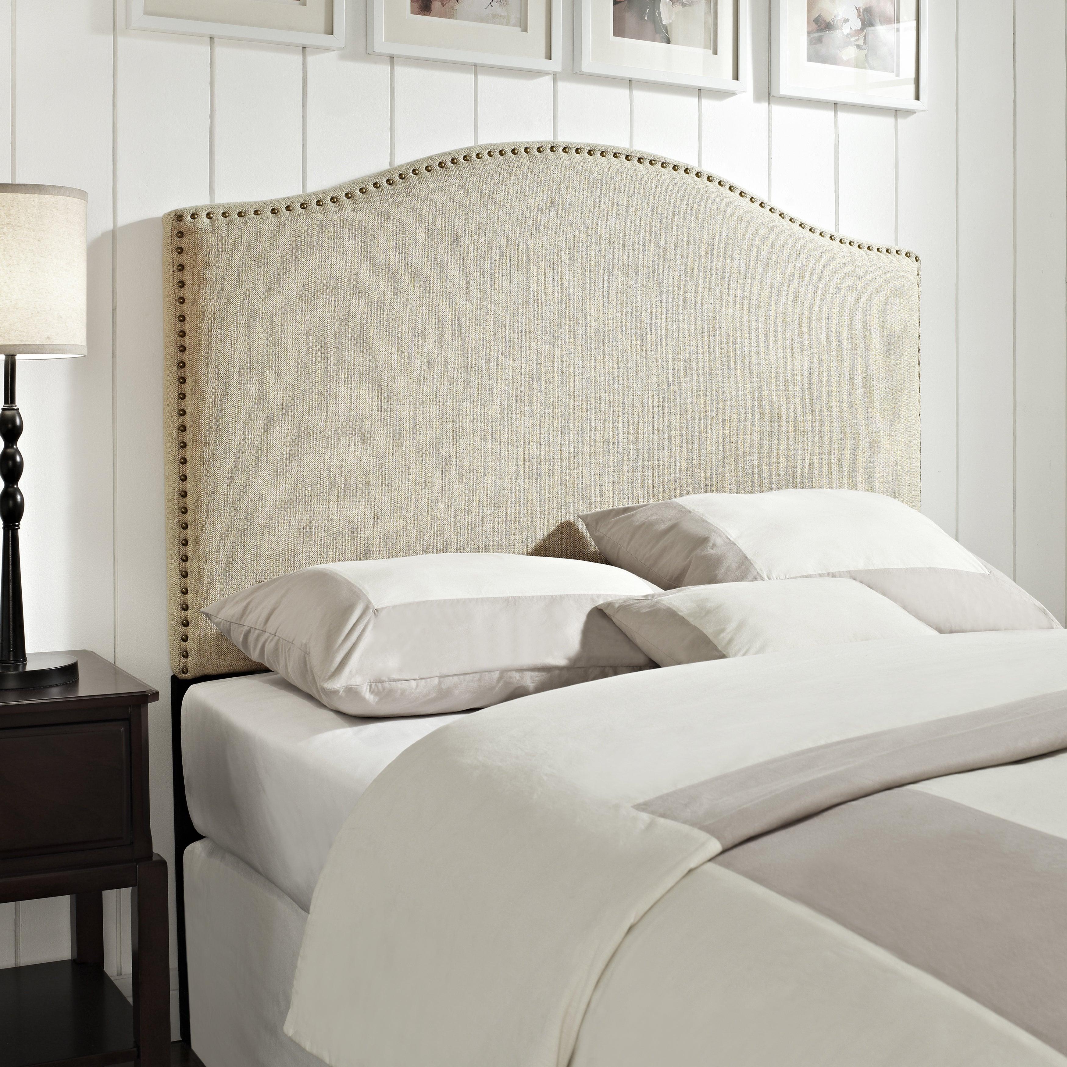 Linen Queen/Full Size Upholstered Headboard, Beige Off-White