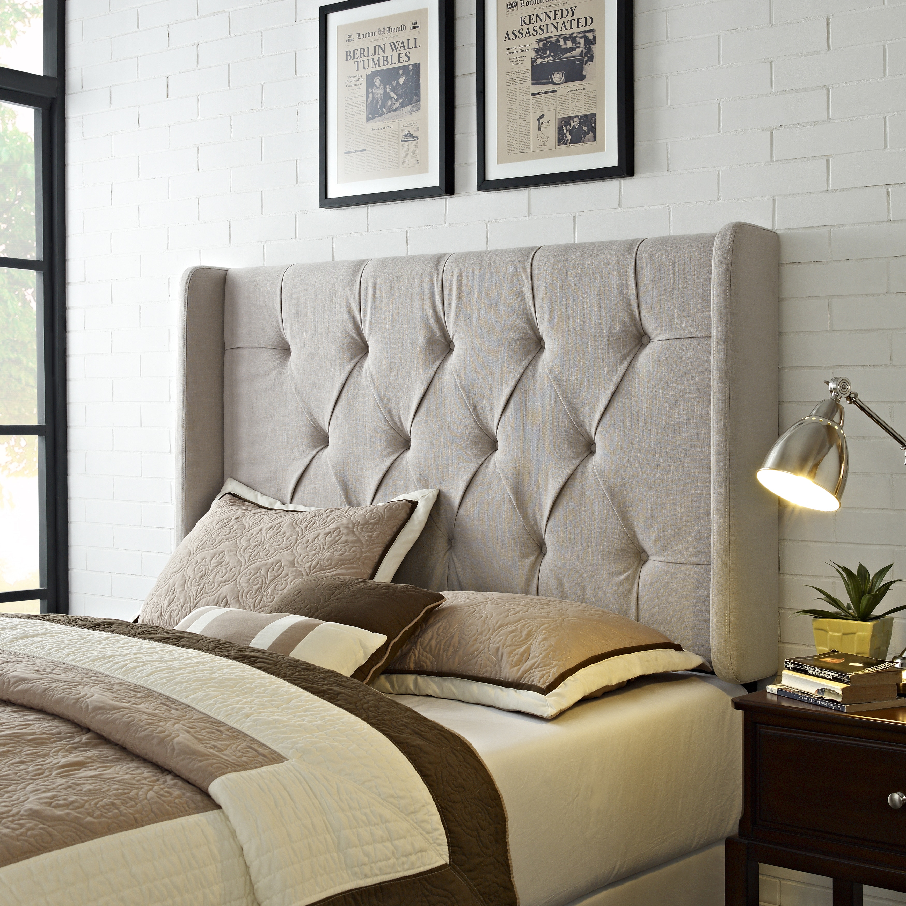 Shop Wingback Tufted Ivory Queen Full Size Upholstered Headboard