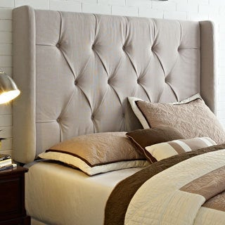 Wingback Tufted Ivory King California Size Upholstered Headboard