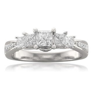 Montebello 14k White Gold 1ct TDW Princess-cut 5-stone Diamond Ring