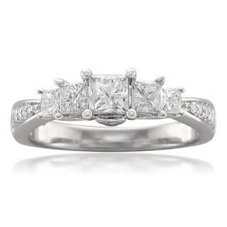 Montebello 14k White Gold 1ct TDW Princess-cut 5-stone Diamond Ring