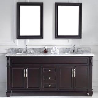 Virtu USA Victoria 72-inch Espresso Double Round Sink Vanity Set