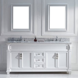 Water Creation Derby 72 inch Solid White Double Sink Bathroom