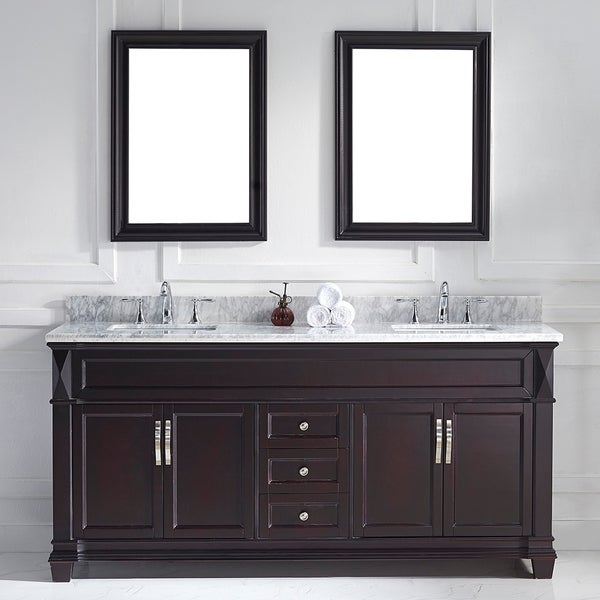 72 inch double sink bathroom vanities - Virtu Usa Victoria 72 Inch Espresso Double Square Sink