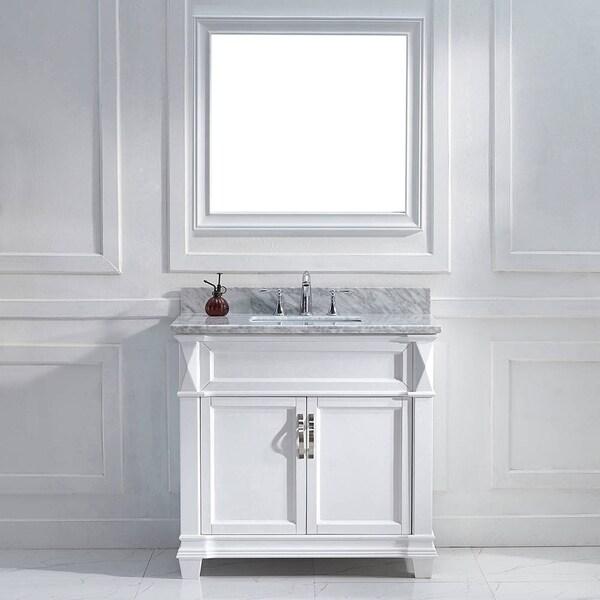 Virtu Usa Victoria 36 Inch Italian Carrara White Marble Single Sink Bathroom Vanity Set