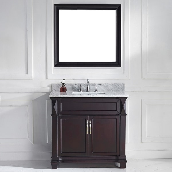 Shop virtu usa victoria 36 inch espresso single square sink vanity set free shipping today for 36 inch espresso bathroom vanity