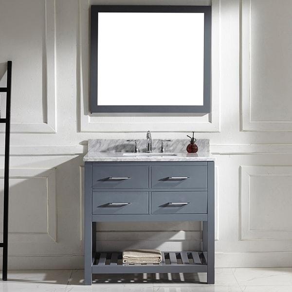 Caroline Estate 36-in Single Vanity White Marble Square Sink Mirror