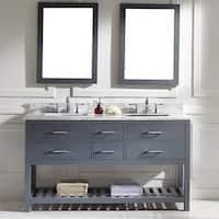Virtu USA Caroline Estate 60-inch Grey Square Double Sink Italian White Carrara Marble Vanity Set