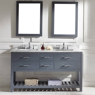 Virtu USA Caroline Estate 60-inch Grey Square Double Sink Italian White Carrara Marble Vanity Set
