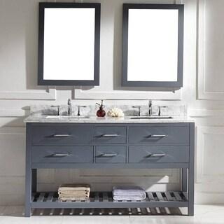 Virtu USA Caroline Estate 60-inch Carrara White Marble Double Sink Bathroom Vanity Set