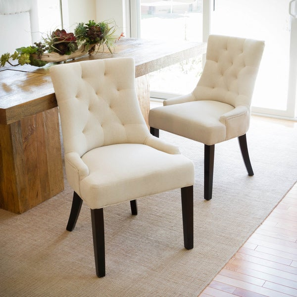 Hayden Tufted Fabric Dining Accent Chair Set Of 2 By Christopher Knight Home