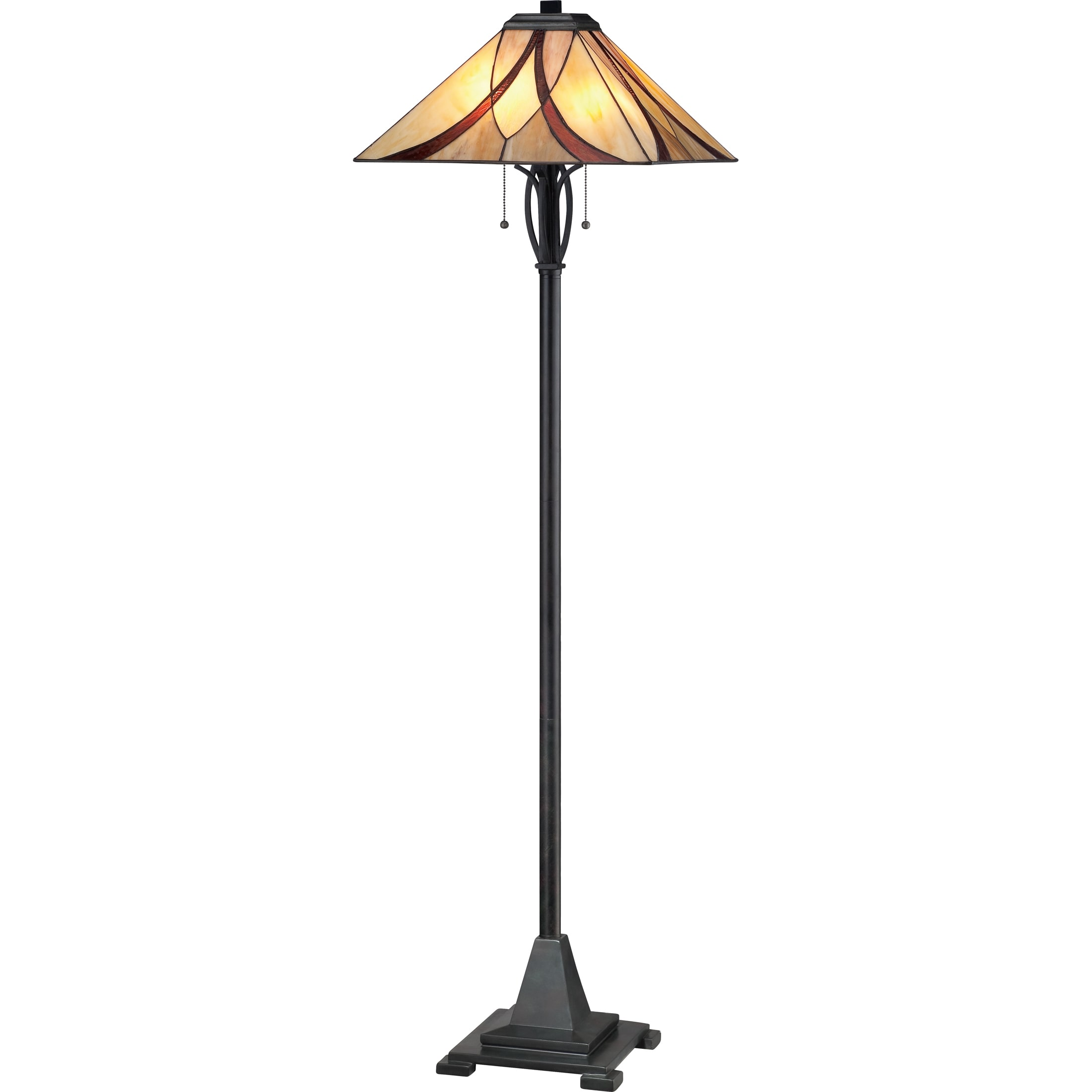 Quoizel Asheville 2 Light Valiant Bronze Tiffany Style Floor Lamp