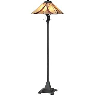 Quoizel Asheville 2-light Valiant Bronze Tiffany-style Floor Lamp