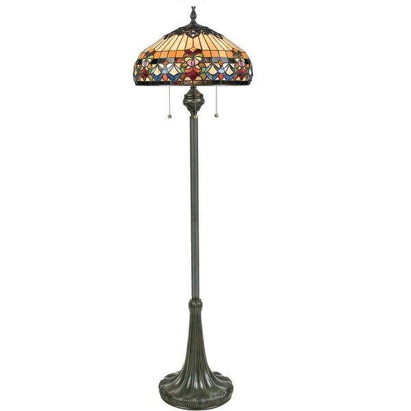 Quoizel Belle Fleur 3-light Vintage Bronze Tiffany-style Floor Lamp