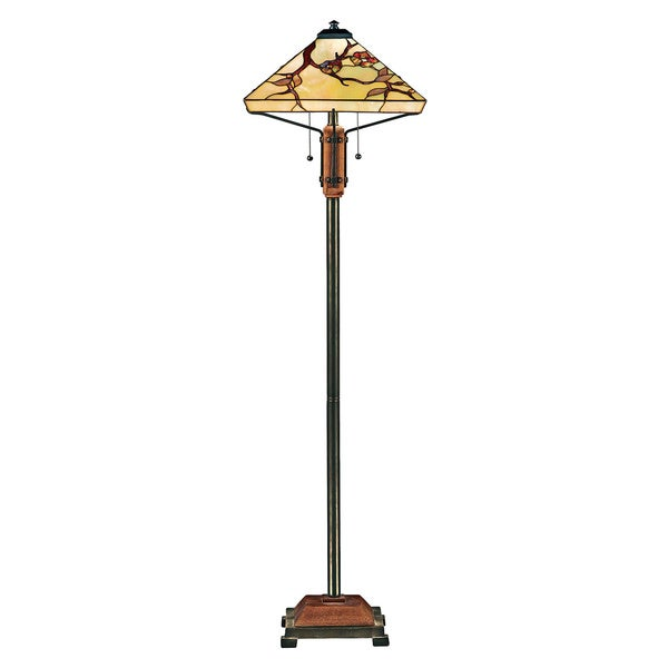 Quoizel Grove Park 2-light Multi Finish Tiffany-style Floor Lamp