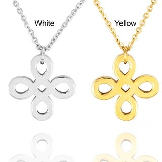 ELYA Stainless Steel Ribbon Cross Pendant Necklace
