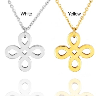 ELYA Stainless Steel Ribbon Cross Pendant Necklace