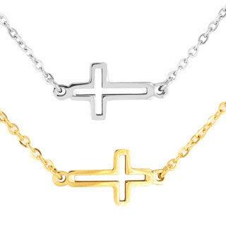 ELYA Stainless Steel Open Sideways Cross Necklace