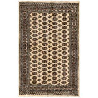 Herat Oriental Pakistani Hand-knotted Bokhara Beige/ Coral Wool Rug (5' x 7'10)