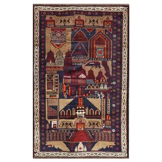 Herat Oriental Semi-antique Afghan Hand-knotted Tribal Balouchi Wool Rug (2'10 x 4'6)