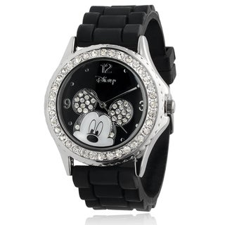 Disney Mickey Mouse Women's Rhinestone-accented Silicon Analog Watch