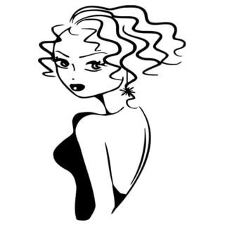 Girl with Haircut Vinyl Wall Decal 3