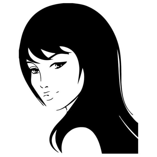 Girl with Haircut Vinyl Wall Decal 6