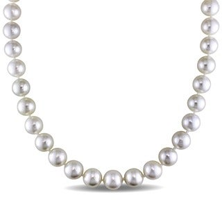 Miadora Signature Collection 14k Yellow Gold South Sea White Pearl Necklace (10-11 mm)