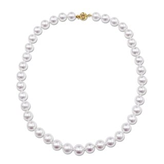 Miadora Signature Collection 14k Yellow Gold South Sea White Pearl Necklace (10-11.5 mm)