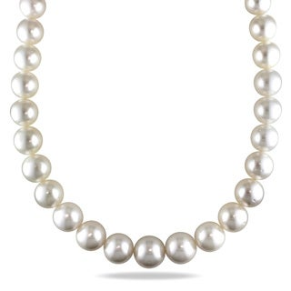 Miadora Signature Collection 14k Yellow Gold South Sea White Pearl/ Diamond Accent Necklace (11-15.5 mm)