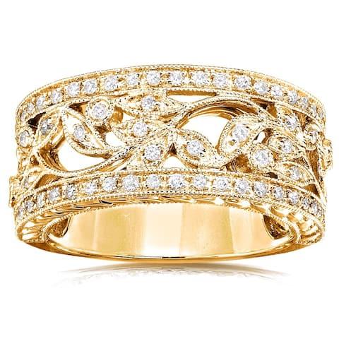 Annello by Kobelli 14k Yellow Gold 1/4ct TDW Diamond Floral Vintage Art Nouveau Anniversary Ring