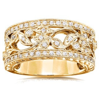 Annello 14k Yellow Gold 1/4ct TDW Diamond Floral Vintage Art Nouveau Anniversary Ring (More options available)