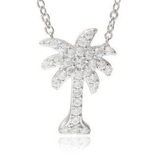 Journee Collection Sterling Silver Cubic Zirconia Palm Tree Pendant