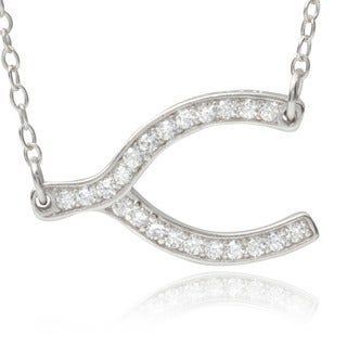 Journee Collection Sterling Silver Cubic Zirconia Wishbone Pendant