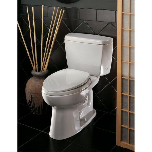 Toto Eco Drake Two-Piece Elongated 1.28 GPF ADA Compliant Toilet, Cotton White (CST744EL#01)