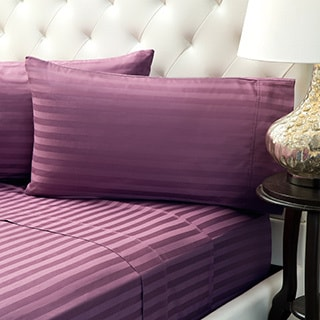 Moments Cotton Striped Damask 400 Thread Count Cotton Sheet Set