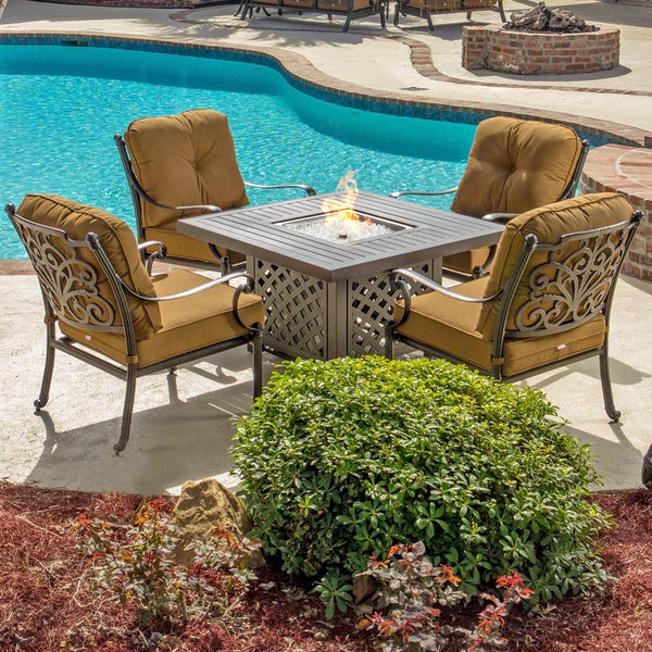 Evangeline 5 Piece Cast Aluminum Patio Deep Seating Set With Gas Fire Pit Tab