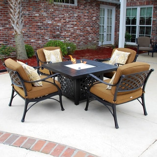Heritage 5-Piece Cast Aluminum Patio Deep Seating Set with Gas Fire Pit Table