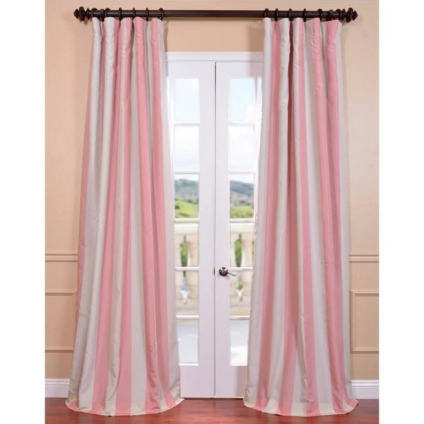 Exclusive Fabrics Ultra Lux Blackout Pink Blossom Taffeta Stripe Curtain
