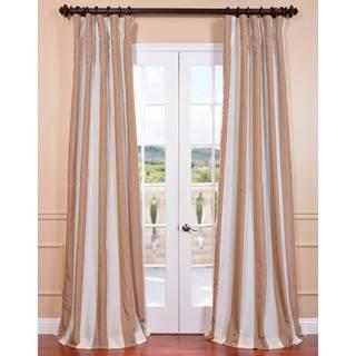 Exclusive Fabrics Ultra Lux Blackout Creme Nougat Taffeta Stripe Curtain Panel